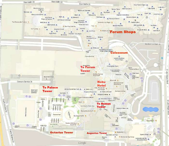 Caesars Palace map