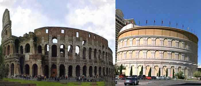 Colosseum in Las Vegas vs. real Colosseum in rome