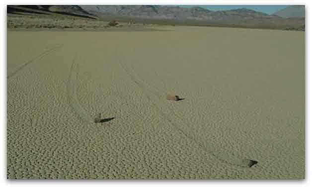 Sailing Stones in Racetrack Playa in Death Valley