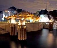 Hoover Dam all lit up for the night - waiting to be photographed!