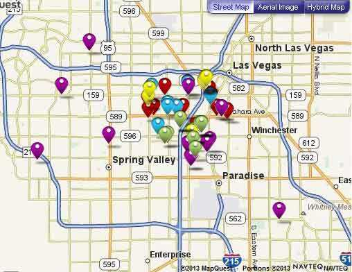 Map of discount restaurants in Las Vegas participating in Entertainment Book program
