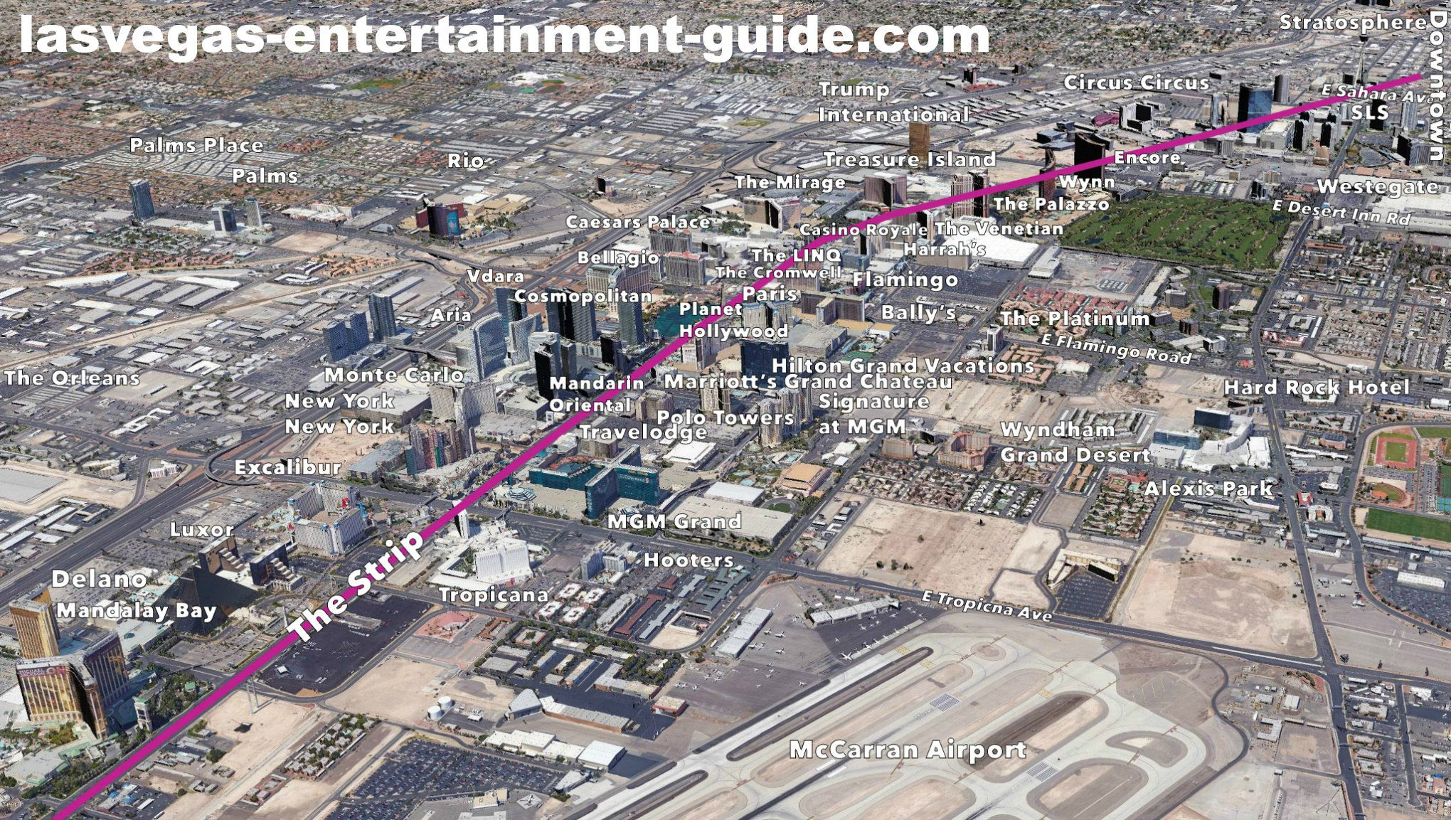 Las vegas strip map distance