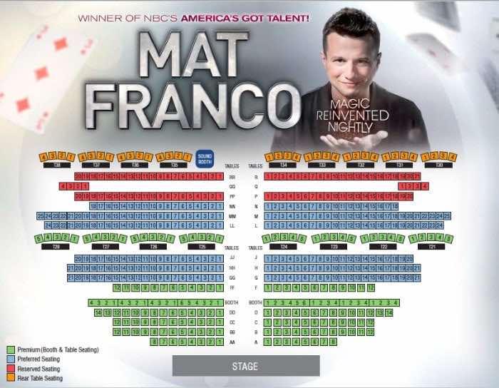 Mat Franco Las Vegas seating chart