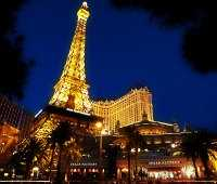 Vegas Strip at night - view of Paris hotel and Eiffel Tower