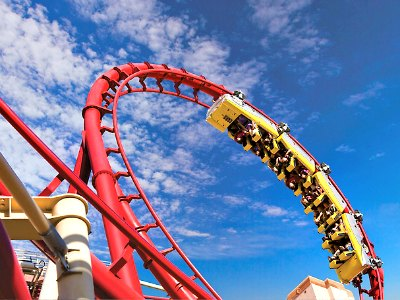 What casinos have roller coasters in Las Vegas?