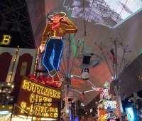 Vegas at night - the famous Vegas Vic at Fremont street