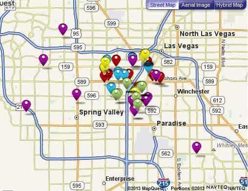 Map of discount restaurants in Las Vegas participating in Entertainment Book program