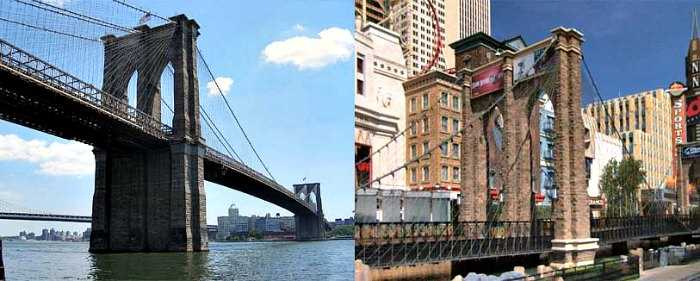 New York New York hotel in Las Vegas vs. NYC - Brooklyn Bridge