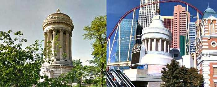 New York New York hotel in Las Vegas vs. NYC - Soldiers and Sailors monument
