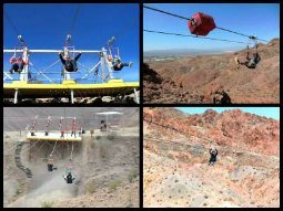 Riding a zip line in Las Vegas!